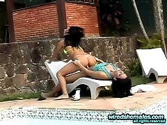 Kinky shemale in bikini can�t hide her stiff cock in her panties any more