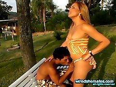 Lascivious shemale massaging guy�s tight ass outdoors after hot training