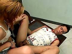 Lewd shemale getting her nut off right on guy�s face after hot sex on table