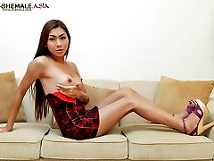 Hot and hung ladyboy unloads her balls