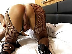 Sexy shemale pantyhose hardcore action