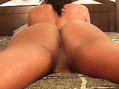 Big titty black tgirl plays alone
