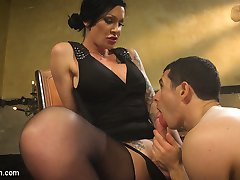 Morgan Bailey seduces her step son and gives him a lesson in cock sucking and ass fucking! She bends him over her knee and spanks his bottom red until he sucks her cock just the way she likes it. Then she fucks his asshole with pounding hard thrusts and blows her load right in his pretty little face. She puts him in a pile driver and rams her cock so deep that Corbin sprays a giant load of filth right into his own face.