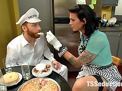 Morgan Bailey is devastatingly killer toying a building wifey who seduces the milk dude when her hubby is at work. Sebastian and Morgan have real chemistry. We get these two together and it's like fireworks! Morgan serves Sebastian some of her delicious virgin pie and adds the juices from her horny rock-hard cock! She sits her glorious butt right on the milk man's face then tears up the hell out of him with her dominating cock! Fucking, deepthroating, sweat, drool and 2 giant jizm loads!