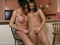 2 naughty shemales getting it on