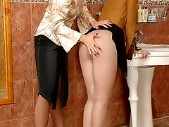 Frantic spanking and wild muff-diving with cuties in lacy hose right in WC