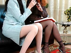 Stockinged cuties quit reading stripping to underwear for lesbian nylon sex