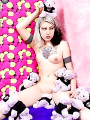 hot punk chick naked in a room of teddy bears
