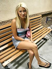 Blonde cutie pulls her bikini bottom high up her puffy camel toe