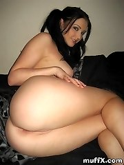 Attractive sexy chick Veronica R. still want to young as she play with her tedy bear and shaved rare
