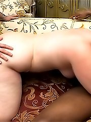 Chubby blondie enjoys sucking dicks and getting fucked by two studs