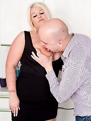 Glowing BBW blonde maid gets it on with her employer instead of doing the work