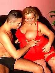 Lingerie clad BBW Agnes does a sexy striptease and got her juicy pussy fucked hard after sucking a cock