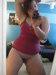 Chunky chick flashing big breasts and ass
