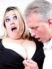 Lusty plumper Monique teases an older dude with her large melons and gives him a wet blowjob