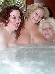 Chunky wives playing in the tub