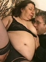 Horny plumper sucks down some big cock