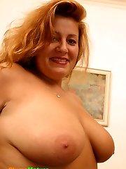 Fat mum having fun with her favorite rubber friend