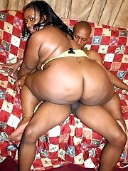 Chunky black chick Afrodisia exposes her huge plump booty while she gets her punany packed