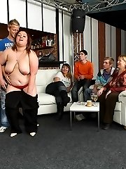 Fat girl is a little drunk and she loves a good fuck so she lets him have her in the bar