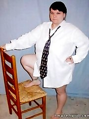 Genderbending sexy fat girl in tie and a guy shirt