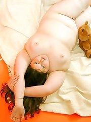 Fat Cute Teen Posing Nude with her Teddy Bear