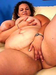 Huge bbw Mona Mounds showing off her awesome blowjob and taking a black cock in her chubby pussy...