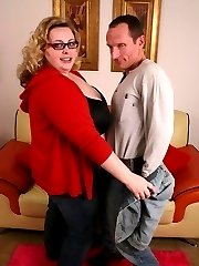 Sexy blonde bbw Holly flaunt her huge bazooms and takes cock stuffing by humping on top
