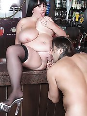 Fat brunette barmaid got her heavy assets smashed with dick right at her workplace
