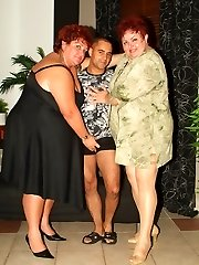 Agnes and Margaret are strong weight Plus-size working together and taking turns on a cock