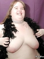 SSBBW with huge belly rolls naked and spreading