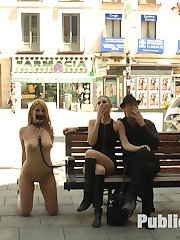 Hanna Montada is a gorgeous busty bondage slut that is stripped fully naked in public....