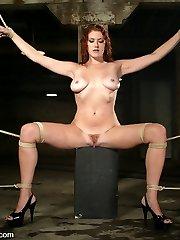 brSexy long-legged redhead Sabrina Fox is a newbie here at Kink.com but not a newbie to bdsm...