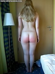 Innocent looking beauty brutally caned on her big chubby ass