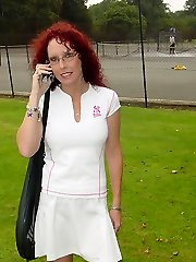 Tennis playing teenage has her little mini-skirt raised and her pert bottom caned hard