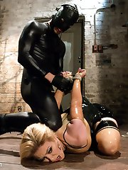 Sick of his bitchy new Domme's insults and attitude, this gimp gets loose and teaches her a lesson she'll never forget about what true submission really means. Bill takes Darling down and puts her through her paces with a brutal throat fucking, bone-wrenching bondage, and even figging (with ginger burning up her ass) while she's made to crawl to him over a painful path of rice and beg to be fucked. She has much more to prove to him in sexual service if she wants to earn her orgasm...and his cum.