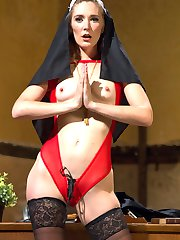 In her first shoot ever, Audrey Noir plays a curious virgin nun in training who is caught exploring her sexual fantasies by twisted Sister Mona Wales. Sister Mona seeks divine guidance though a meditative masturbation session which leads her to punish postulant Audrey with OTK spanking, flogging, cropping, nipple clamps, bondage, humiliation, ass worship, and multiple orgasms. Sister Mona ultimately fills Audrey's spiritual void with strap on vaginal and strap on anal, leaving her cum drunk and basking in her profane desires.