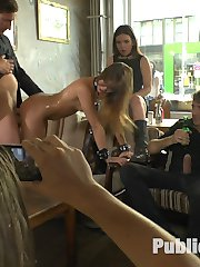 Perky young Lullu Gun is a pretty little exhibitionist whore and Julliette March gets her fully naked and crawling around on the dirty streets for all the boys to see. She then turns that firm ass bright red with some corporal punishment outdoors. Finally those tight holes get filled with fat cocks at a crowded cafe.
