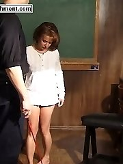 Bare ass thrashing for lovely teen bent over the flagellating bench - severe stripe marks