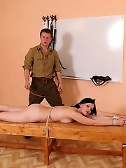 Completely naked for the caning of her life