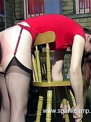 Brutal naked assed paddling bent over the chair for blond girl in tears