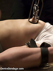 This week we have Juliette March back to suffer at the hands of Orlando. She is on her back and spread wide and helpless her clothes are torn from her body exposing her milky white flesh. Her body prays for torture, and it receives a xxl helping of it. She is now bent over and locked into cold steel with her perky bootie in the air and her pussy available. her nipples are clamped and her fuckbox assaulted with hard tearing up and a menacing vibe to make her orgasm repeatedly.Juliette is finished in the stool of doom where she again falls under the sadistic punishment of Orlando. She prays for it to stop, but that just fuels his sick mind, and makes her groan even more.