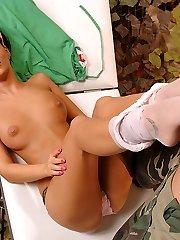 Nurse Angelica gives a footjob