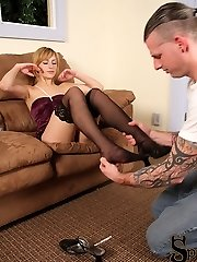 Pretty blonde Missy is all dressed up and almost ready to go out. Her boyfriend, now at her...