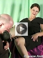Foot slave is made to watch and worship his Mistresss high heel sandals