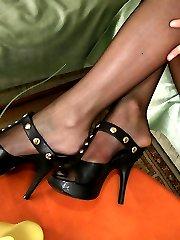 Lusty blondie in black reinforced toes pantyhose having time for foot games
