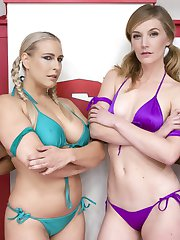 Angel Allwood and Nikki Darling take on Mona Wales and Ana Fox in 100 competitive erotic...