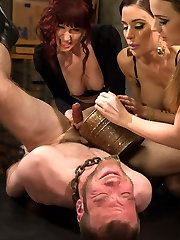 What if you were used as nothing more than a manhood and ball sack to mercifully milk to the final and last glob day after day after day after day? That is exactly what Jesse Carl is to 3 of the sexiest femdoms in history! Maitresse Madeline, Mistress Gia Dimarco and Dominatrix Chanel Preston keep Jesse locked away in a dark pit and bring him out once a day until he fills their rusty bucket with jizm. Sure, this sounds like every mans dream come true but these femdoms are brutal, nefarious and so beautiful that it turns into torture and he can't be jerked anymore! They use the 100 mile an hour skin light fucksall and Jesse liberates his flow inwards. Whatever!!!! They just milk him more! Lots of rump and pussy idolize, string-on anal invasion and a prostate milking that results in multiple orgasms straight from the masculine g-spot then right back in his locked pit he goes.......... until tomorrow!
