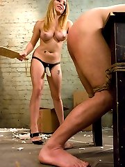The mail is late for the last time.  Beautiful Aiden starr brings her vicous personality and gorgeous tits to the mail room to get to the bottom of things.Sz is new, but not new to sucking up to the boss.  When she beats his ass with a heavy wooden paddle, it looks like he is going to loose it.  But, the anticipation of the beautiful dominatrix banging his ass with her strap-on keeps him in the game long enough to satisfy the hot, demanding bitch.