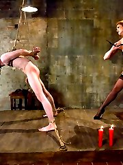 The tales of the red-headed reputation are true.  Ask Kade about this demanding, sadistic but gorgeous dominatrix.  Predicament bondage, strap on ass fucking, whipping, teasing, fucking.  All with legs and tons of red hair.